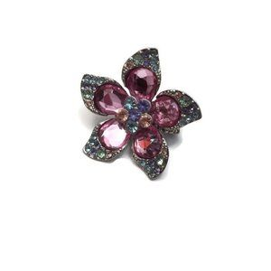 Jewelry - Pink Oversized Flower Ring Gemstones and Sparkles
